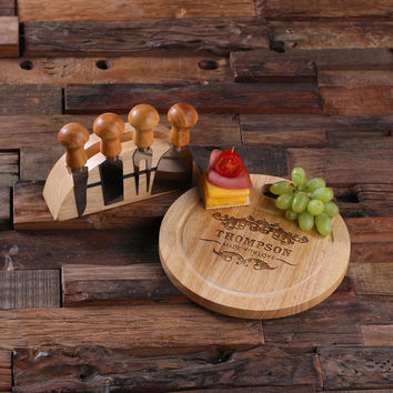 Personalized Bamboo Wood Cutting Bread Cheese Serving Tray Board with Tools – A