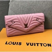 LV Trending Women Stylish Leather Buckle Purse Wallet Pink