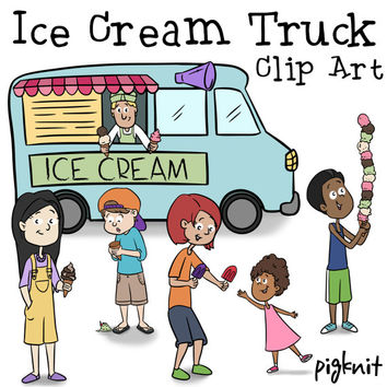 Ice Cream Truck Clip Art, Ice Cream Clip Art, Summer Kids, Summer Clip Art, School Clip Art, Teacher Clipart, Kids Clip Art, Ice Cream Man