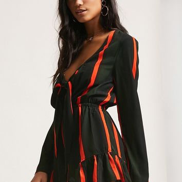 Plunging Striped Self-Tie Romper