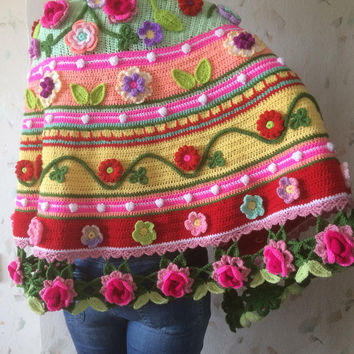 Irish Crochet Flowers Shawl...Freeform Shawl