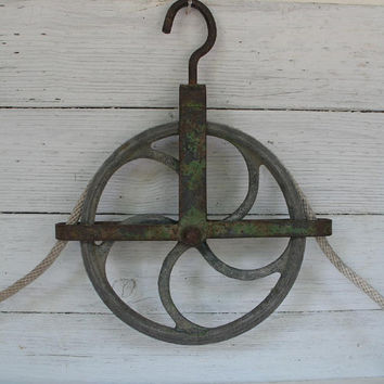 Vintage Industrial Metal Barn Pulley
