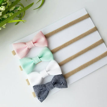 Baby Headbands | Small Bows | Baby Bows | Nylon Headbands | Baby Headband Set | Pink, Mint, White & Denim itty bitty bows