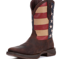 Durango Men's Rebel Patriotic Pull-On Boot - Brown
