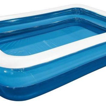 ONETOW 79' Blue and White Giant Rectangular Inflatable Family Backyard Pool