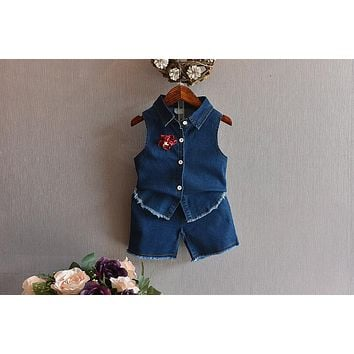 New Baby Girl Set Summer Fashion Style Girls Clothes Cowboy Vest+Shorts 2Pcs Suit Kids Clothing Set Casual Suit