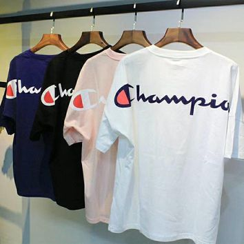 champion loose t shirt with script logo