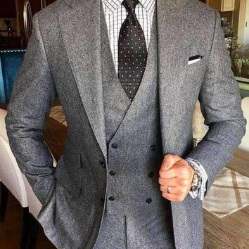 Latest Coat Pant Designs Grey Tweed Suit Men Formal Brand Slim Fit Business Marriage Style Blazer Prom 3 Piece Tailor Terno