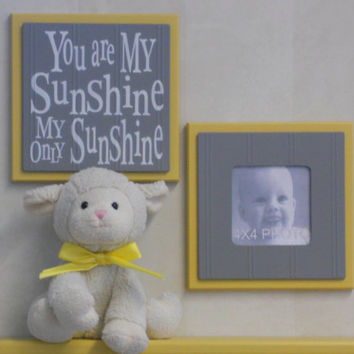 Yellow and Gray Baby Nursery Wall Decor - Set of 2 - Photo Frame and Sign - You Are My Sunshine My Only Sunshine