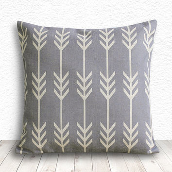 Pillow Cover, Geometric Pillow Cover, Cushion Cover, Linen Pillow Cover 18x18 - Printed Geometric - 124