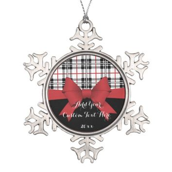 Red Black Tartan Plaid and Ribbon Girly Cute Kids Snowflake Pewter Christmas Ornament