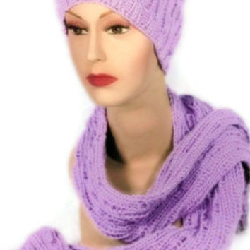 Knitted Orchid Scarf Hat and Wristlet Set