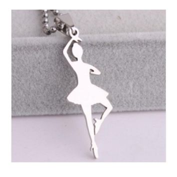 Stainless Steel Silver Dance Ballet Girl Pendant Necklace