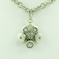 Industrial Gas Mask Pendant Necklace with vintage antique silver finish chain