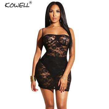Sexy Strapless Spaghetti Strap Dress Women Transprant Lace Slim Bodycon Dresses Backless Package Hips Night Club Party Dress
