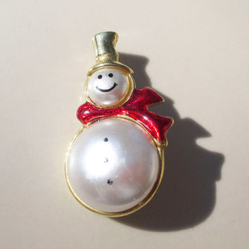 Christmas Winter Snowman Frosty Brooch Pin Vintage xmas jewelry