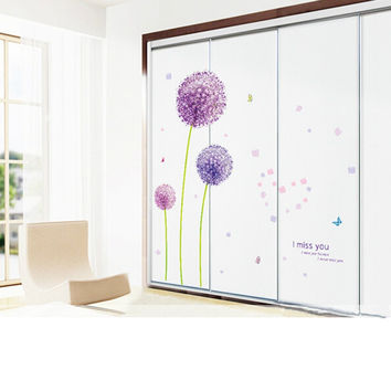 Removable I Miss You Dandelion Flower Butterfly Art Wall Stickers Mural Decoration Home Decor