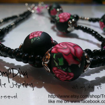 Bohemian Rose Beads Necklace, Beadwork Necklace Black Red, Pink Green Silver, millefiori