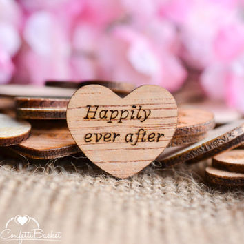 "100 Happily Ever After Wood Hearts 1"" - Rustic Wedding Decor - Table Confetti - Wooden Hearts - Wedding Invitations"