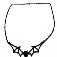 ACZNK45 - LARGE BLACK BAT NECKLACE | Accessories/Gifts | Phaze Clothing