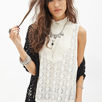 FOREVER 21 Sleeveless Bib Crocheted Top Cream