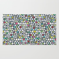 buttons and bees slate Area & Throw Rug by Sharon Turner | Society6