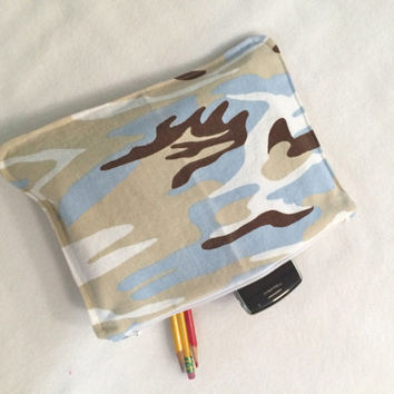 Organizer Travel Case Blue Camouflage Pencil Case with Zipper  Back to School Ready to Ship School Supplies  Medication Storage Meds