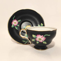 Adderley Floral Teacup, Black Matte Teacup and Saucer Set with Pink Flowers Gold Trim