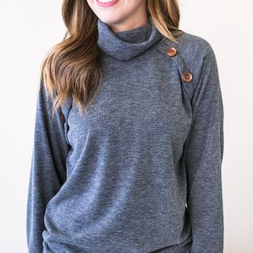 Pressing Buttons Mock Neck Button Detail Knit Top