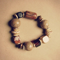 Chunky Boho Earth Toned Beaded Anklet