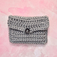 Gray Crochet Coin Purse with Button, Grey Cash Card Change Money Holder, Womens Teens Accessories, Wife Girlfriend Mom Sister Gift for Her