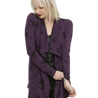 Purple & Black Skull Girls Open Cardigan