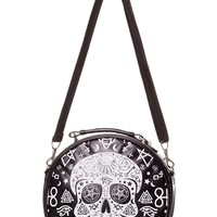 Gothic Rockabilly Skull Pentagram Round Handbag Crossbody Purse