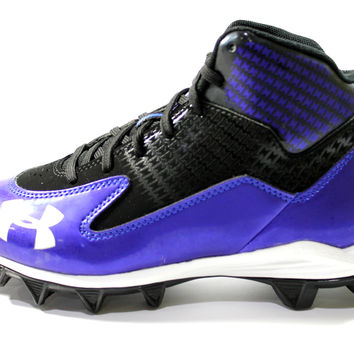 Under Armour Youth's Hammer Mid Jr Black/Blue Football Cleats
