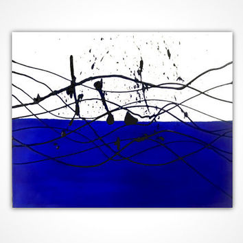 Original painting - Blue painting - living room wall art - Original oil painting original - Blue abstract painting - Splash art