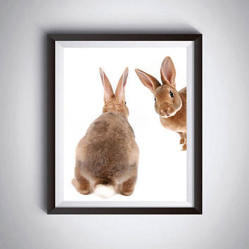 Nursery Decor, Bunny Print, Woodland Animals, Wall Art, Digital Download, Large Poster, Woodland Baby Shower, Rabbit Print, Cute bunnies