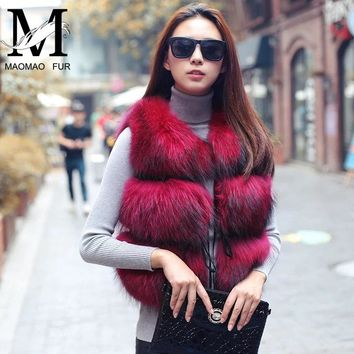 Real Raccoon Fur Vest Women Winter Genuine Dog Fur Gilet Female Ladies Warm Leather Jacket Overcoat Natural Fur Vest Waistcoat
