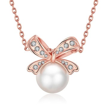 18K Rose Gold Plated Bow Pearled Necklace