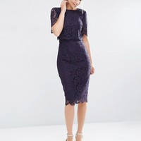 ASOS Lace Crop Top Midi Pencil Dress at asos.com