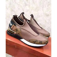 LV tide brand female models wild sports running shoes Coffee