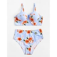 Plus Size Flower Print Bikini Set - Womens Push-Up Padded Swimwear Swimsuit Bathing Suit