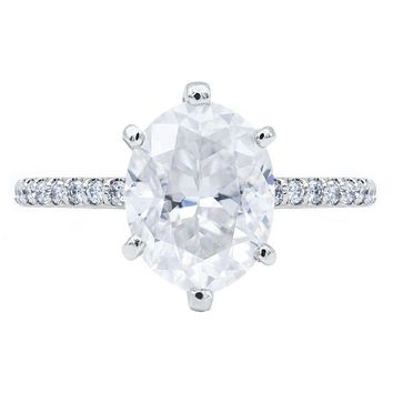 **NEW Oval Crushed Ice Moissanite 6 Prongs Diamond Accent Ice Solitaire Ring