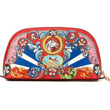 Dolce & Gabbana Carretto Siciliano Print Make-up Bag - Vanilla Shoes & Bags - Farfetch.com