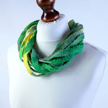 Green and yellow multistrand necklace made of twisted felt ribbons - twist, multi strand, fiber, wool, ribbon jewelry [N128]