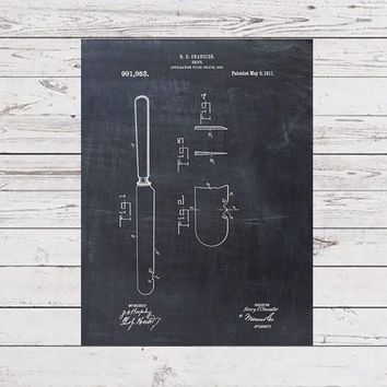 Patent Print of a Knife Patent From 1911 - Art Print - Patent Poster - Kitchen Art - Kitchen Decor - Kitchen Poster - Dining Room Art