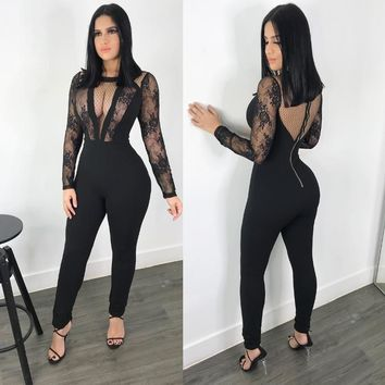 Women Lace Sheer Mesh Sexy Jumpsuit Club Outfit Long Sleeve V-neck Backless Rompers Female Bodycon Slim Black Party Overalls