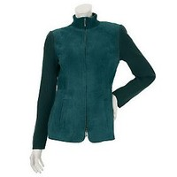 Linea by Louis DellOlio Suede Zip Front Jacket with Rib Trim — QVC.com