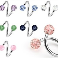 Lot of 7 Ultra Sparkle Spiral Twister Belly Navel Body Jewelry Piercing Bar Ring 14g