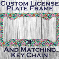 Custom Monogrammed personalized license plate frame. Lily Pulitzer inspired Crown Jewels Vanity car tag frame #1014