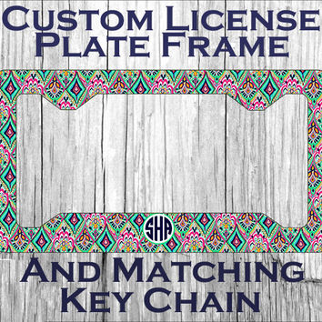 custom monogrammed personalized license plate frame lily pulitzer inspired crown jewels vanity car tag frame